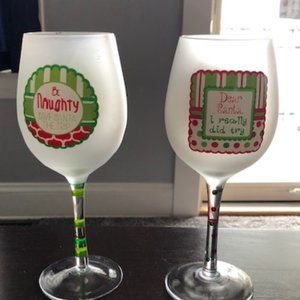 2 Frosted Christmas Wine Glasses